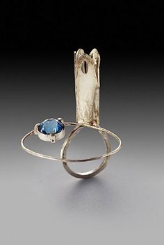 Ring | Susan Skoczen. 'Drawn Bridge'.  Sterling silver and blue zircon.