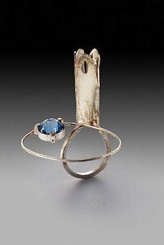 Ring | Susan Skoczen. 'Drawn Bridge'.  Sterling silver and blue zircon.