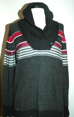 Tommy Hilfiger Women's Gray Striped Cowl Neck Sweater Size XL $69.50 NWT #TommyHilfiger #CowlNeck