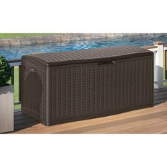 16 Cubic Feet of Outdoor storage Our Extra-Large Resin Wicker Deck Box provides an incredible 16 cu. of water-resistant, outdoor storage. You can eliminate clutter on your deck or patio by storing cushions, pool toys, grilling supplies or e Patio Storage, Wood Storage Sheds, Storage Boxes, Outdoor Storage, Storage Containers, Playroom Storage, Storage Trunk, Storage Baskets, Storage Ideas