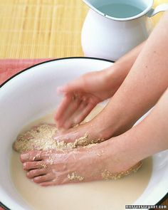 Have cold feet? Try this Orange Spice Foot Mask! It combines spices, skin-soothing ingredients such as oatmeal and honey, and the invigorating essence of orange, Wholeliving.com