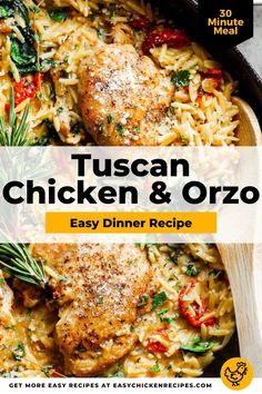 Made in one pan, this Italian-inspired Tuscan Chicken & Orzo Skillet recipe is perfect for an easy weeknight dinner. Loaded with the delicious and rich flavors of garlic, sun-dried tomatoes, parmesan cheese and chicken thighs. So good! Chicken Orzo, Tuscan Chicken, Baked Chicken, Orzo Recipes, Easy Dinner Recipes, Easy Weeknight Dinners, Easy Meals, Italian Chicken Recipes, 30 Minute Meals