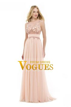 2016 See-Through A Line Scoop Prom Dresses Chiffon With Beading Sweep Train