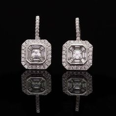 Diamond Drop Earrings | From a unique collection of vintage drop earrings at https://www.1stdibs.com/jewelry/earrings/drop-earrings/