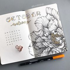 Creative Organization: Artistic Monthly Bullet Journal Spread for October | Bujo monthlies | planner page layout ideas | Bujo art #bujoinspire #bulletjournalmonthly