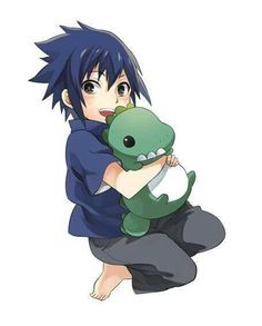 Uchiha Sasuke, young, childhood, toy dinosaur, cute; Naruto