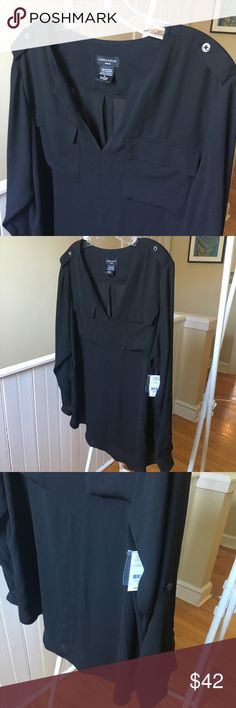 Classic light weight black cargo style blouse 1X Beautiful new with tags Lord and Taylor woman black blouse with cargo style front pockets and tab sleeves and shoulders. Size 1X. Split crew V-neck. chest is 48 inches Lord & Taylor Tops Blouses