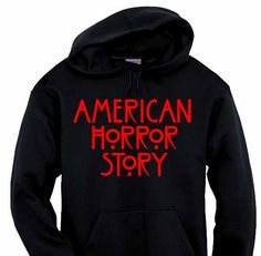"""One of the hottest shows on tv. American Horror Story black hoodie features the official logo in """"blood"""" red on the front. Get yours and show your pride. Only $24.95"""