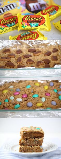 Reeses peanut butter blondies topped with Easter M&M's and stuffed with chocolate goodness! These are a fun twist on the traditional blondies and the perfect Easter dessert!