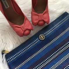 "Tory burch woven clutch Gorgeous blue red and white colors. Used a handful of times. Excellent condition. 15.5"" x 9"" and bottom is 3.5"" x 14"". Will come with a dust bag (not original). Offers welcome through offer tab. No trades. Tory Burch Bags Clutches & Wristlets"