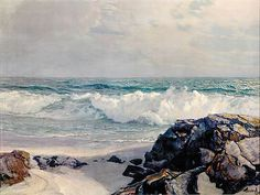 Frederick Judd Waugh (after) New Jersey/Massachusetts BIT OF THE CAPEcolor lithograph, framed, on Sep 2007 Seascape Paintings, Landscape Paintings, Winslow Homer, Various Artists, Art Lessons, Waves, Footprints, Water 3, Outdoor