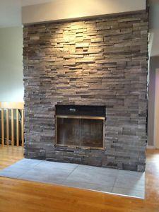 manteau de foyer en pierre décorative - Recherche Google Foyers, Recherche Google, Decoration, Salons, Family Room, Room Ideas, Fire, Concept, Cook