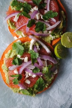 avocado tostadas with grapefruit