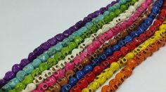 Lot of 10 Howlite Skull Beads 14 inch strands