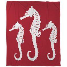 Thumbprintz Nautical Nonsense White Red Seahorses Coral Fleece Throw