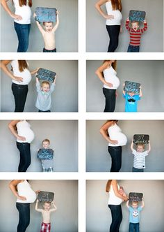 Photography:  Maternity photos; Mother and child pose with chalk board at different stages of pregnancy.  So cute!