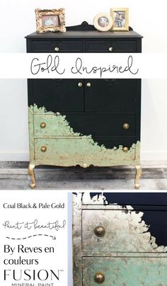 A truly unique piece painted by Julie Naima from Reves en couleurs in Quebec. She used Coal Black and then metallic gold then gold lead to get this amazing look. #paintitbeautiful #furniturepaint #uniquehomedecor
