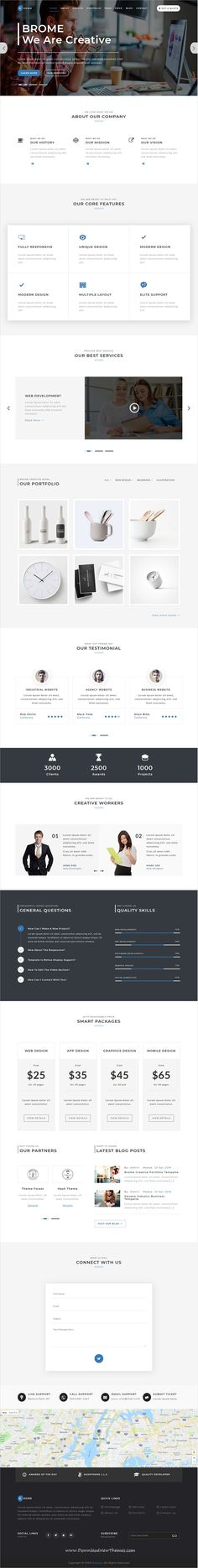Brome is clean and modern design responsive #HTML5 bootstrap #template for digital #agency website with 9 unique homepage layouts to live preview & download click on image or Visit #websitedesign