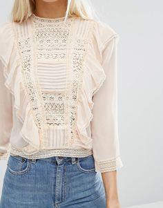 60efa6d2c512e asos lace front blouse Fashion Blouses