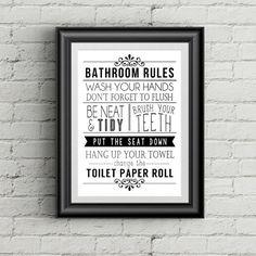 Black and White Bathroom Decor Funny Bathroom Art Bathroom Print