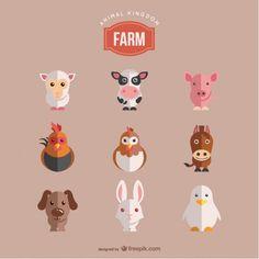 Animaux de la ferme fixés Vecteur gratuit
