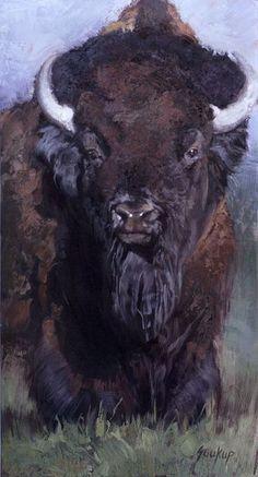 Jill Soukup, Bison At 'Cha, oil, 76 x 42.: