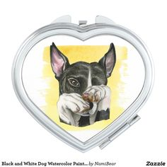 Black and White Staffy Dog Watercolor Painting Compact Mirror. Great gift for dog lovers.