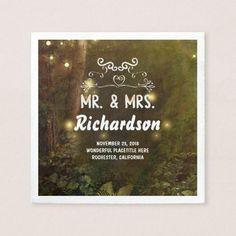 Modern & Romantic Enchanted Forest Wedding Napkin