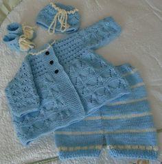 Beautiful hand-knit baby set.