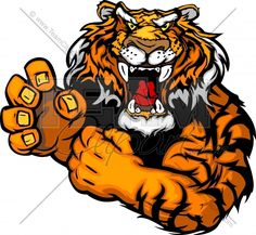 tiger mascot  | Tough Tiger Mascot with Fighting Hands Vector Clipart Image