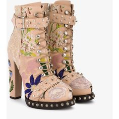 Alexander Mcqueen High Heeled Leather Floral Embroidered Bootie ($3,415) ❤ liked on Polyvore featuring shoes, boots, ankle booties, faux leather booties, faux-fur boots, bootie boots, ankle boots and leather ankle booties