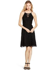 White House | Black Market Sleeveless Lace Black Fit and Flare Dress #whbm