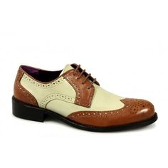 Gucinari VILLA Mens Funky Leather Brogue Shoes Tan And Beige - Mens from Shuperb UK