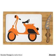 Scooter Orange Rectangular Cheese Board
