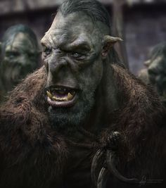 Rallying for the Hunt by George Evangelista. ArtStation This is a Tribal Orc Leader rallying his fellow hunters as they prepare for another big hunt. Alien Creatures, Magical Creatures, Goblin Art, Warcraft Movie, Dark Images, World Of Darkness, Fantasy Races, Fantasy Dragon, Creature Concept