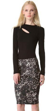 Donna Karan New York Long Sleeve Slash Top | SHOPBOP