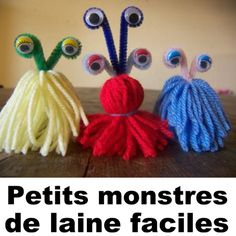 Little adorable wool monsters that are easy to make! Thanksgiving Crafts, Fall Crafts, Diy Crafts For Kids, Little Monster Party, Monster Birthday Parties, Quiet Critters, Planet Crafts, Bricolage Halloween, Yarn Dolls
