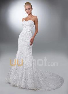 trompet kjæreste kapell tog blonder tyll brudekjole - UUknot.com