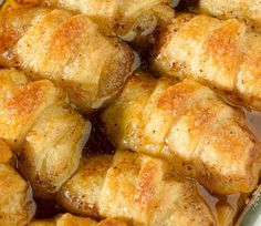 2 granny smith apples  2 cans crescent rolls  1 cup butter  1 cup sugar  1 teaspoon vanilla extract  cinnamon, to sprinkle  1 c...