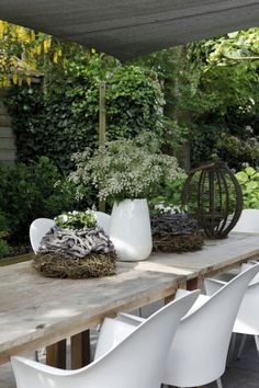 A beautiful collection of organic shaped pots   in the garden of florist Loes and her family, Apeldoorn