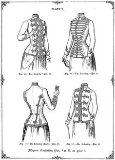Military styled Ladies' jackets from The Cutter's Practical Guide to the Cutting of Ladies' Garments by W.D.F. Vincent (1890).  Styles shown are Military, Artillery, Infantry and Guards