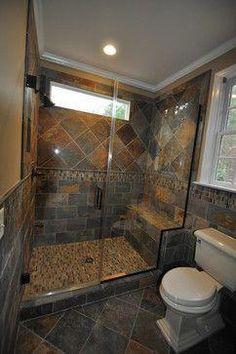 Slate Tile Bathroom Ideas Elegant Cary Guest Bath Remodel Slate Traditional Bathroom Raleigh by Rebekah Frye Cabin Bathrooms, Rustic Bathrooms, Small Bathroom, Bathroom Ideas, Bathroom Wall, Slate Tile Bathrooms, Bathroom Styling, Slate Shower Tile, Master Bathroom