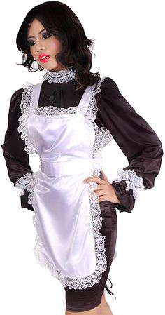 Satin Hobble Maid Uniform