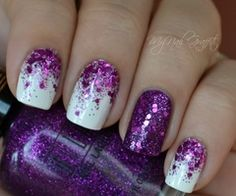 white & purple sparkle nails ... love