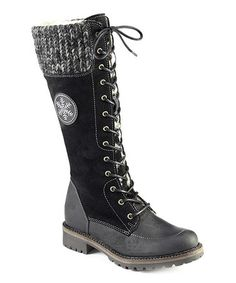 Take a look at this Black Caster Boot by FLY London on #zulily today!