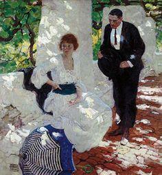 Dean Cornwell, Couple Under Loggia, oil on canvas, 1921