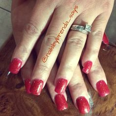 Red nails with a little glitter