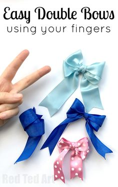 How to Make a Perfect Bow - Hair Bow DIY - Red Ted Art How to Make a Perfect Bow - Hair Bow DIY. How to make a bow using fingers. This is a neat trick to make cute double bows with your fingers. Perfect for lovely gift wrapping, or bow hair accessories. Easy Hair Bows, Ribbon Hair Bows, Making Hair Bows, Diy Ribbon, Ribbon Crafts, Tie Bows With Ribbon, Ribbons, Hair Bow Making, Paper Ribbon Bows
