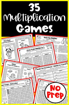 These No Prep multiplication games are designed for fun and fact fluency! As they play they develop fact fluency as they repeat the multiplication facts over and over. 5th Grade Math, Fourth Grade, Second Grade, Math Board Games, Math Games, Homeschool Math, Homeschooling, Multiplication Games, Number Words
