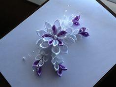 White & Lavender Kanzashi Flower - Hair Barrette, Hair Clip or Hair Comb